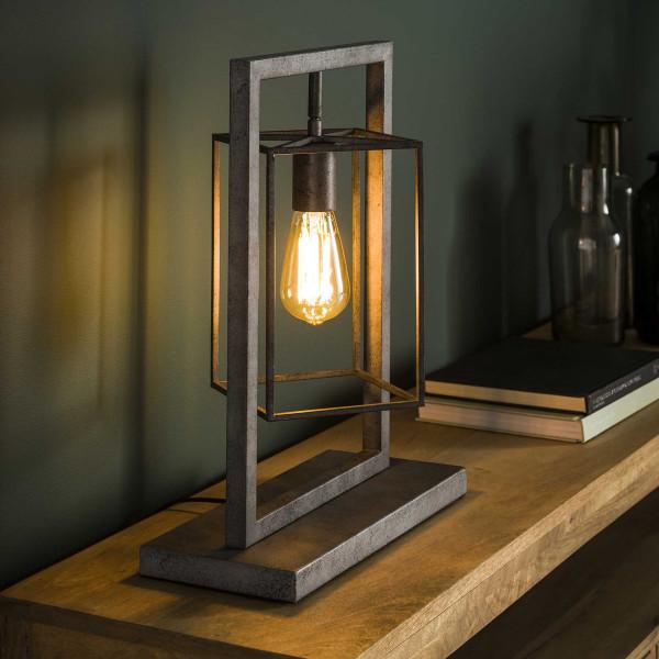 Zilvergrijze tafellamp industrieel