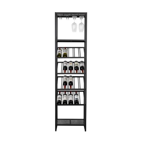 Zwart metalen wijnrek