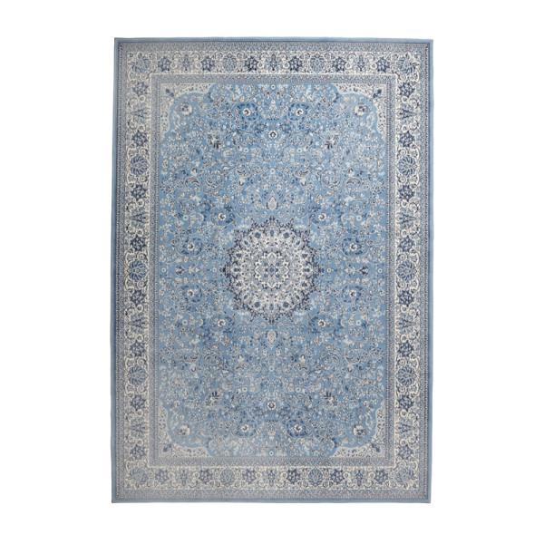 Blauw geweven tapijt