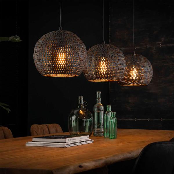 Zwart-bruine hanglamp met ronde kappen