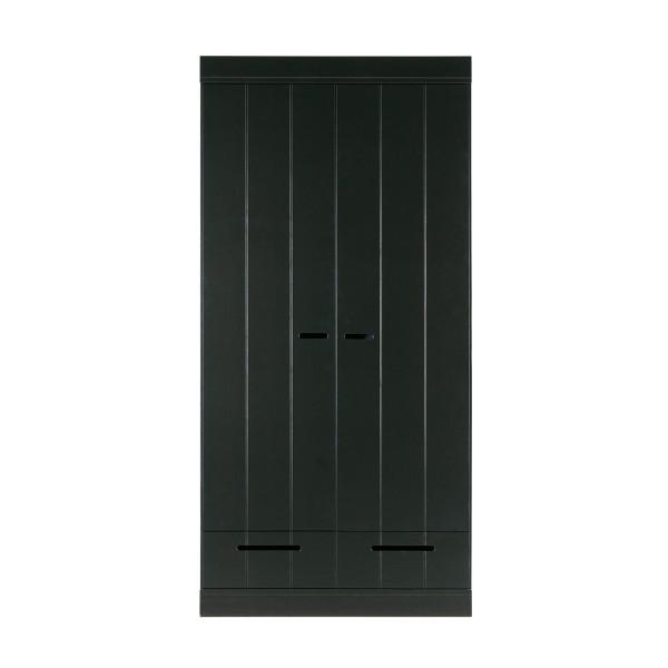 Zwarte kledingkast 2-deurs met lades