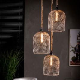 3-lichts hanglamp van metaalgaas
