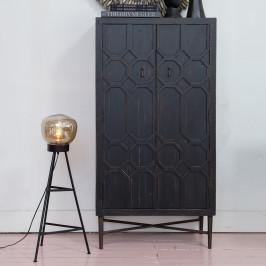 Vintage wandkast zwart hout