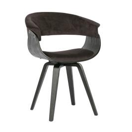 Houten design stoel met stof