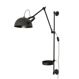 Zwarte wandlamp met plankje