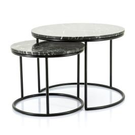 Ronde salontafels van zwart marmer
