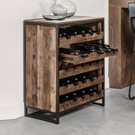 Teakhouten wijnkast met laden