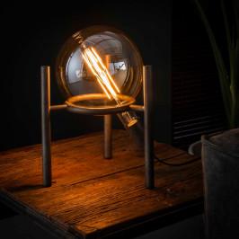 Driepoot tafellamp met steunring oud zilver