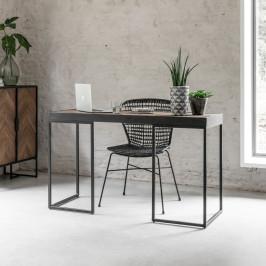 Visgraat bureau met zwart teak