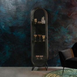 Ovale vitrine zwart metaal