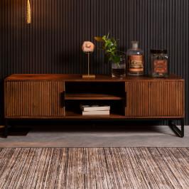 Mangohouten tv-meubel met ribbels