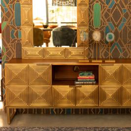 Mangohouten tv-dressoir met goud