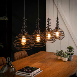 Eettafel hanglamp zwart staaldraad