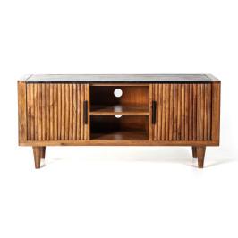 Retro tv-meubel mangohout marmer 125 cm