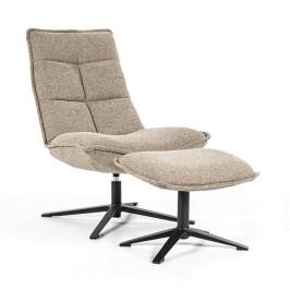 Bouclé fauteuil met voetenbank