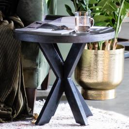 Ronde salontafel van zwart hout
