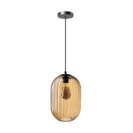 Sfeervolle hanglamp ribbel amberglas