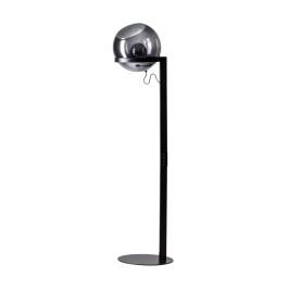 Zwarte design vloerlamp glazen bol