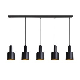 Moderne eettafel hanglamp zwart goud