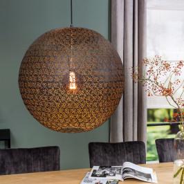 Grote ronde hanglamp zwart gaas