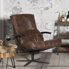 Lederen fauteuil industrieel met arm samenstellen