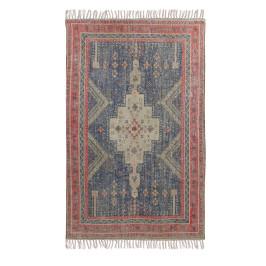 Katoenen tapijt rood blauw