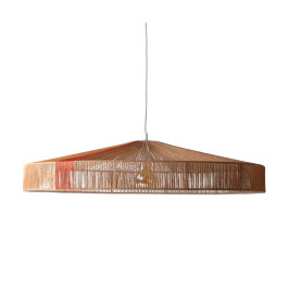 Ronde retro hanglamp van touw