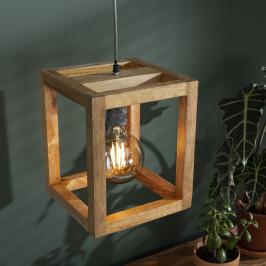 Houten kubus hanglamp