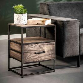 Industrieel nachtkastje grijs hout