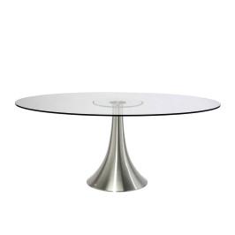 Eettafel met ovaal glazen blad