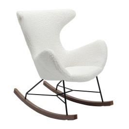 Witte teddy schommelstoel