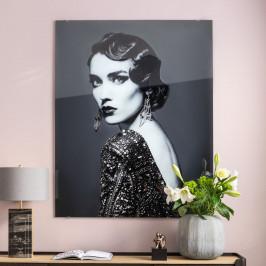 Glas schilderij zwart-wit portret