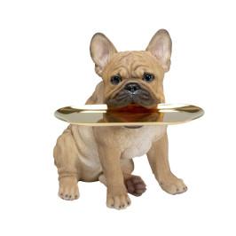 Franse bulldog met dienblad
