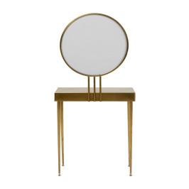 Gouden kaptafel met ronde spiegel