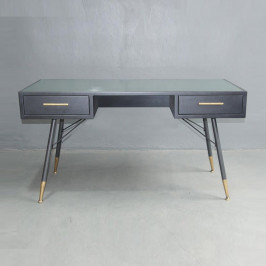 Zwart metalen bureau ribbelglas