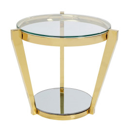 Gouden bijzettafel glas