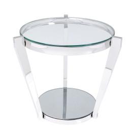 Zilveren bijzettafel glas