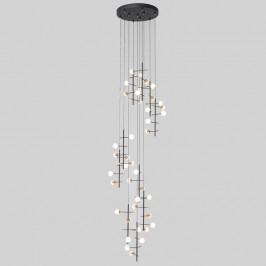 Design hanglamp zwart en messing