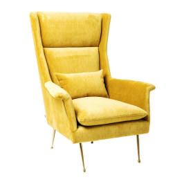 Gele fauteuil met hoge rugleuning