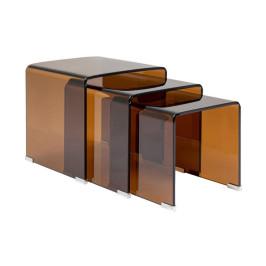 Bijzettafelset amber glas