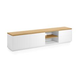 Wit tv-meubel met eiken 200 cm