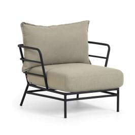 Loungeset fauteuil zwart staal