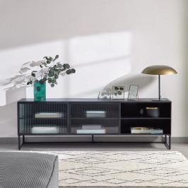 Zwart tv-meubel met ribbelglas