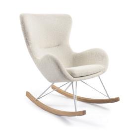Witte schommelstoel boucle stof