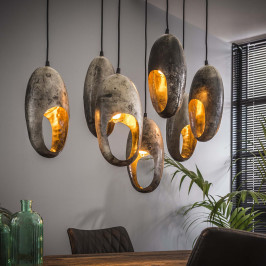 Metalen hanglamp oud zilver groot