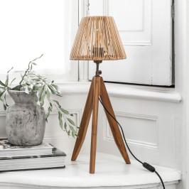 Teak tafellamp met rotan