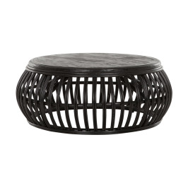 Ronde salontafel zwart rotan