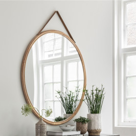 Grote ronde spiegel van rotan
