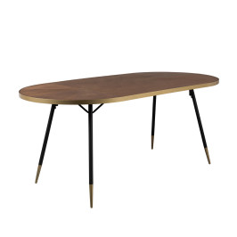 Ovale eettafel walnoot en messing