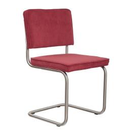 Ribstof stoel met geborsteld frame